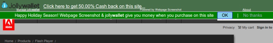 JollyWallet first appears as a green bar across the top of your screen.