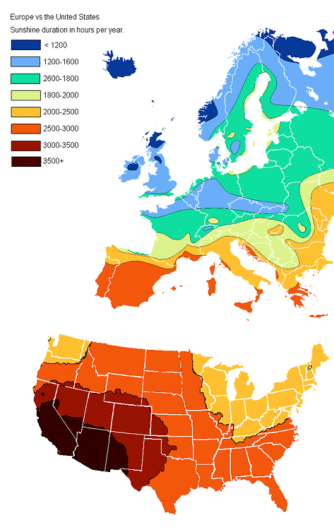 Maps-Annual hours of sunshine in Europe and America