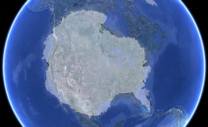 Maps-Antarctica laid over the united states