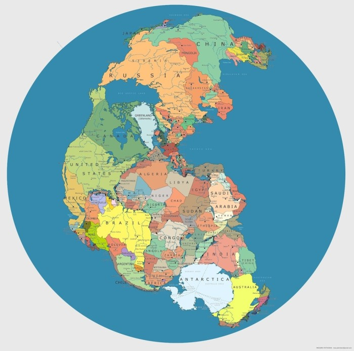 Maps-pangea with modern borders