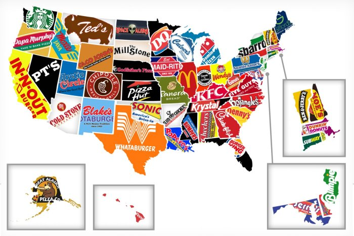 Maps-the most famous brand in each state