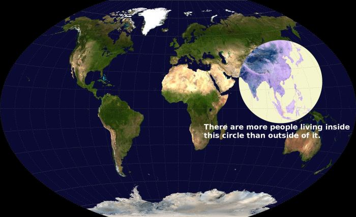 Maps-there are more people living n this circle than outside of it