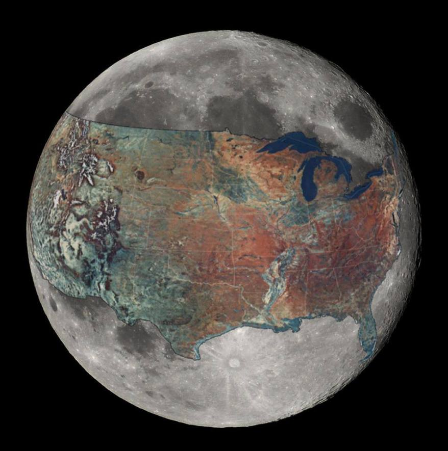 Maps-To give some sense of scale- The United States overlaid on the moon