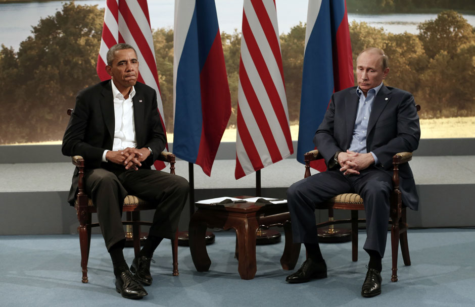 Obama meets with Vladimir Putin during the G8 Summit at Lough Erne in Enniskillen