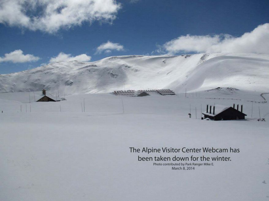 The Alpine Visitor Center as it looked on March 8, 2014. The webcam is positioned on the far side of the middle building.