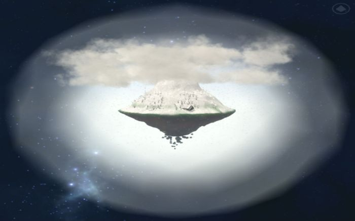 My mountain, snow-covered, floating in space