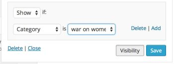 "Widget visibility set to ""Show"" if the ""Category"" is ""war on women."""