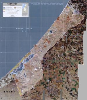 Gaza, 2005. For scale, see the airport runway in Gaza's southernmost tip.