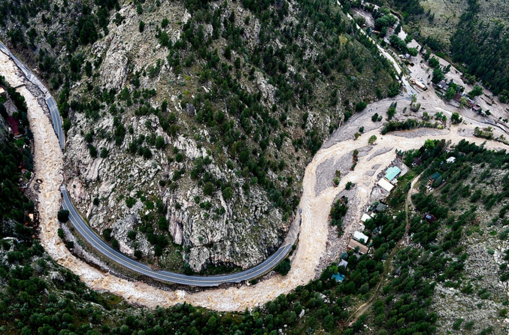 The Big Thompson River chewed its way down the canyon between Estes Park and Loveland, destroying large sections of Highway 34. (Photo: Andy Cross/The Denver Post)
