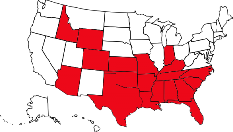 Red states allow corporal punishment in schools. White states have banned it. (Image: Business Insider)