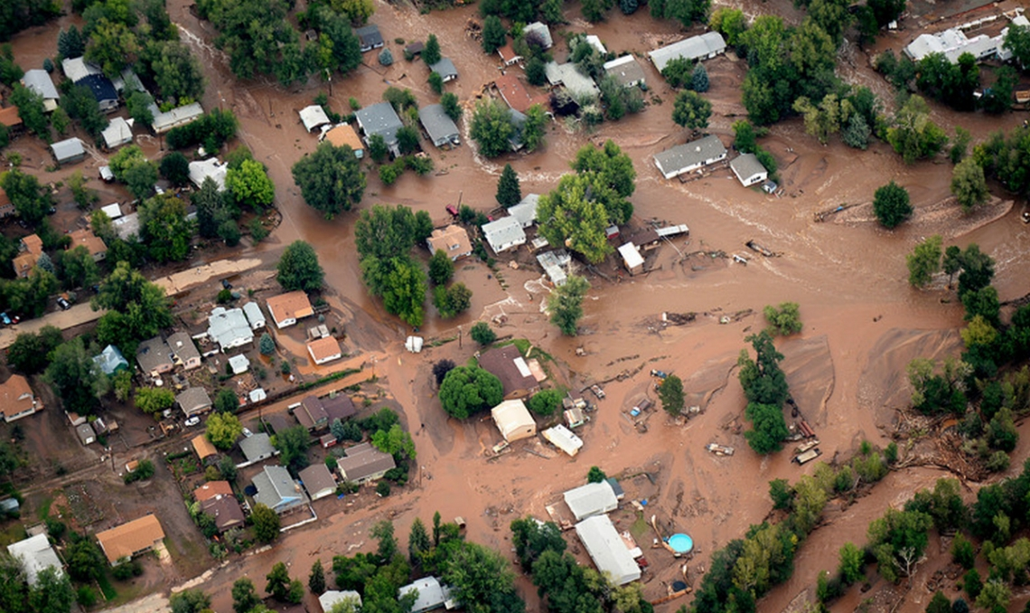 The town of Lyons was flooded by both the North and South Vrain Creeks. (Photo: Denver Post)