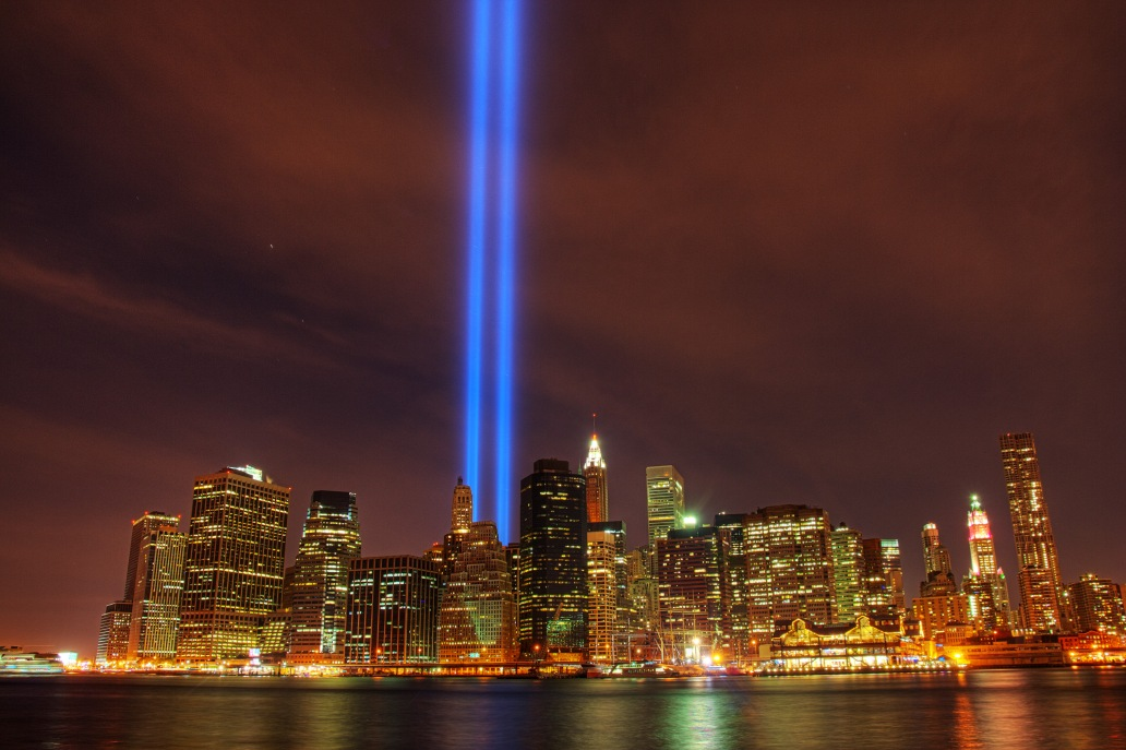 New York City's Tribute in Light memorial as it appeared in 2010