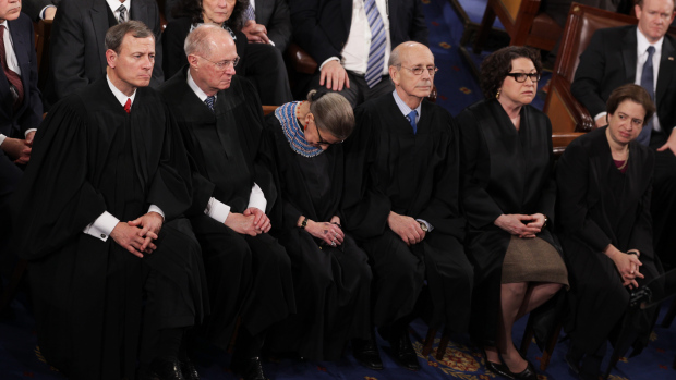 (l to r) Supreme Court Chief Justice John Roberts and Justices Anthony Kennedy, Ruth Bader Ginsburg, Stephen Breyer, Sonia Sotomayor and Elena Kagan (Image: Alex Wong/Getty Images)
