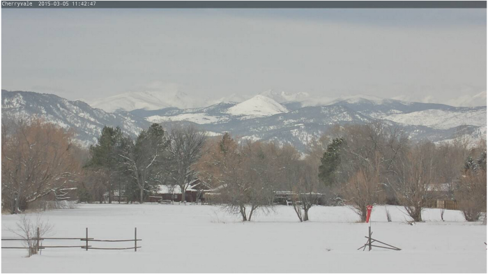 The view from the Cherryvale weathercam in Boulder, Colo. Sugarloaf Mountain is the isolated white dome in the center of the picture. Boulder Canyon is to the left of Sugarloaf. The Continental Divide is on the horizon. Click image for current view.