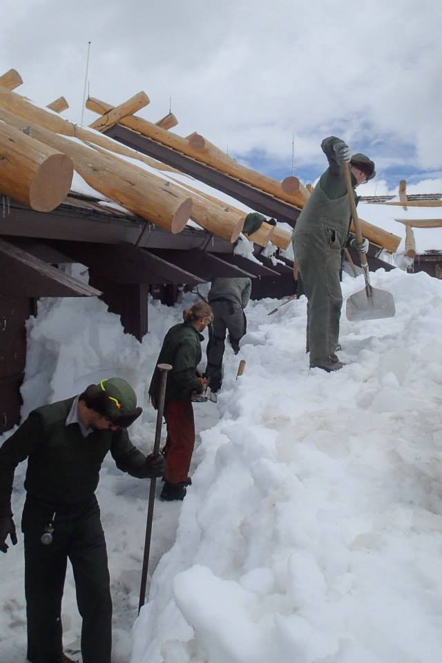 Clearing snow from the Alpine Visitor Center, May 2015
