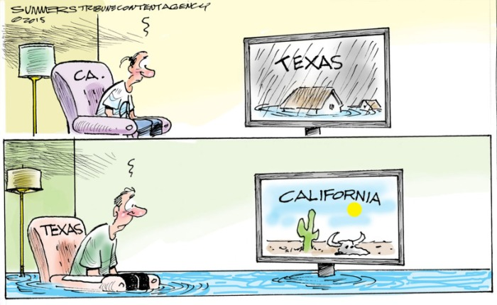 Texas floods, California drought. Dana Summers Copyright 2015 Tribune Content Agency