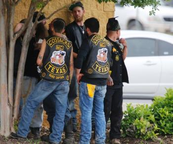 "Some say the fighting started because the Cossacks had added the ""Texas"" rocker to their emblem. (Photo: Rod Aydelotte/Waco Tribune-Herald via AP)"