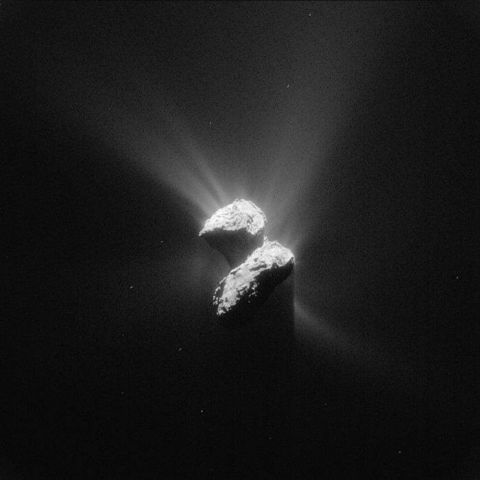 Comet 67P/Churyumov-Gerasimenko as seen from the Rosetta spacecraft 129 miles away