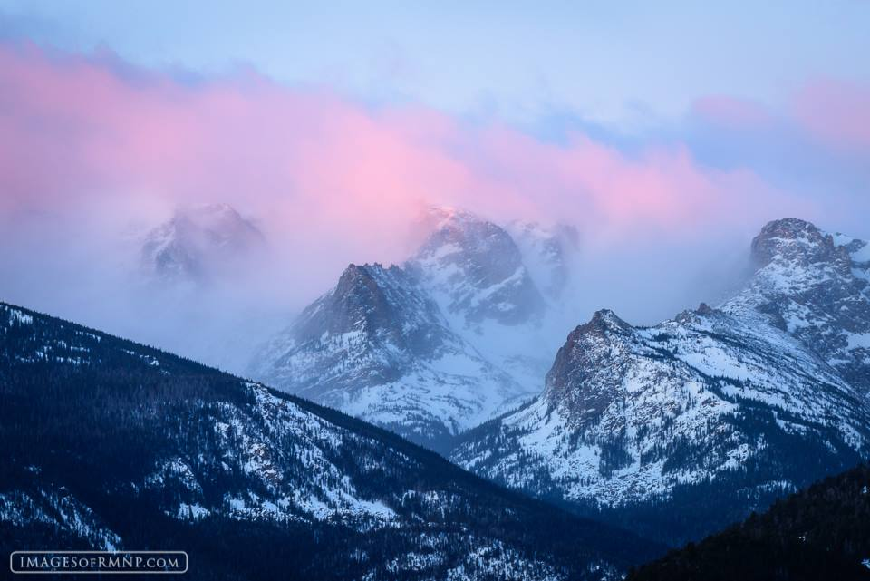 Dawn breaks over Notchtop, Little Matterhorn, and Gabletop in Rocky Mountain National Park. Photo by Erik Stensland. Reprinted with permission.