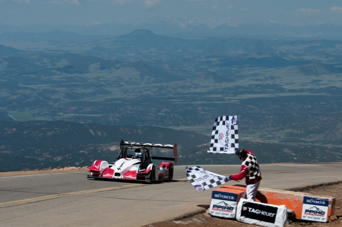 Dumas at the finish line in his Honda-powered Norma M20 RD Limited. (Randels Media Group/Revvolution.com, Official Photographers of the PPIHC)