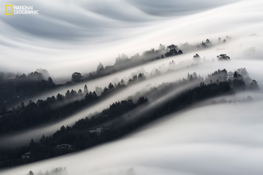 """Under the Waves"" by photographer Christopher Markisz. Waves of fog roll over a neighborhood in Mill Valley, California, as seen from the top of Mount Tamaulipas."