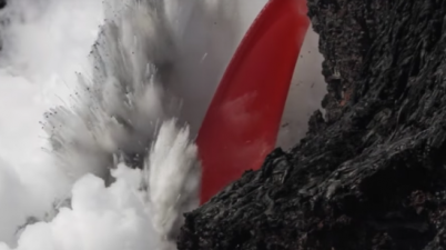Fire Hose of Lava Flows From Kilauea Volcano into Sea (Courtesy: USGS)