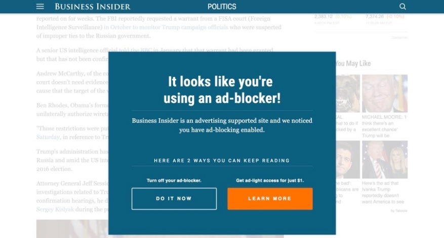 Ad-blocker blocker