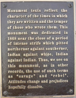 The plaque at the Santa Fe Soldier's Monument.