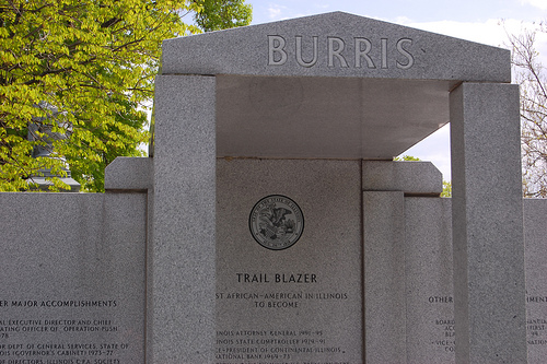 To ensure his place in Illinois history, Burris has already erected a monument/tombstone/mausoleum for himself