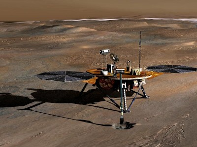Phoenix Mars Lander on the surface of Mars, artist's conception, from NASA/JPL